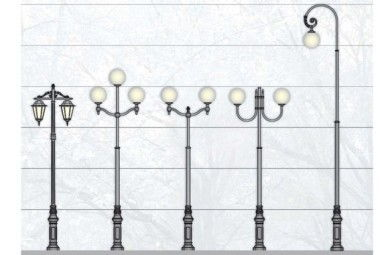 Металлические столбы уличного освещения